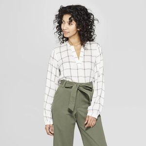 WOMEN'S PLAID LONG SLEEVE V-NECK BLOUSE A NEW DAY